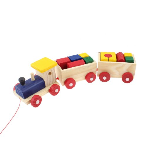 Como Multi Colored Wood Building Blocks 3 Vehicles Wooden Train Toys for Children