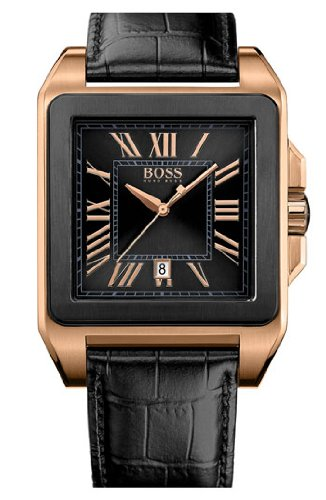 BOSS Black Square Case Leather Strap Watch