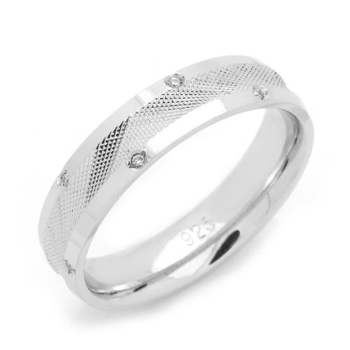Sterling Silver Wedding Band 5MM Diamond-Cut 12 Stone Eternity Comfort Fit Ring - Size 9
