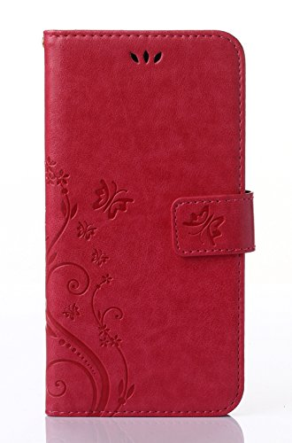 Samsung Galaxy S4 Mini i9190 Case,C-Super Mall PU embossed butterfly & flower Leather Wallet Stand Flip Case for Samsung Galaxy S4 Mini i9190(Rose red) (Samsung S4 Mini Case Red compare prices)