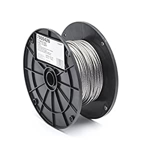"Stainless Steel 316 Wire Rope on Reel, 7x7 Strand Core, 1/8"" Bare OD, 250' Length, 340 lbs Breaking Strength"