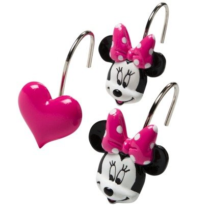 Disney Minnie Mouse And Hearts Bath Shower Curtain Hooks Set 12 Pink W Dots
