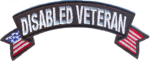 Disabled Veteran Patch with US flag, Embroidered iron on, 4x1.5 inch