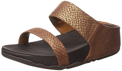 Fitflop Lulu (Snake) Slide, Sandali da Donna, Colore Marrone (Copper), Taglia 39 EU (6 UK)
