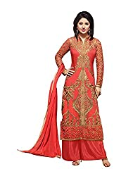 Aarsh Apparel Orange Georgette Embroidery Dress Material