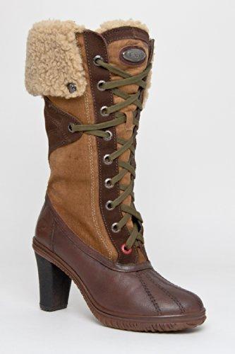 Gretta Mid Calf Boot - Beige Dark Brown