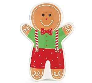 Gingerbread Man Holiday Plate Whimsical Christmas Serveware