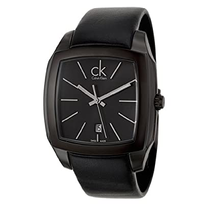Calvin Klein Men's K2K21402 Recess Black Stainless Steel Watch with Black Leather Band