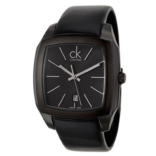 Calvin Klein Men's K2K21402 Recess Black Stainless Steel Watch with Black Leather Band Calvin Klein Dress Watch
