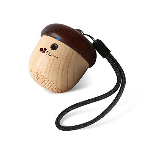 ポータブル Bluetoothスピーカー EC Technology どんぐりデザイン ワイヤレススピーカー コンパクトなサイズ 可愛い 飾り物 ウッドカラー