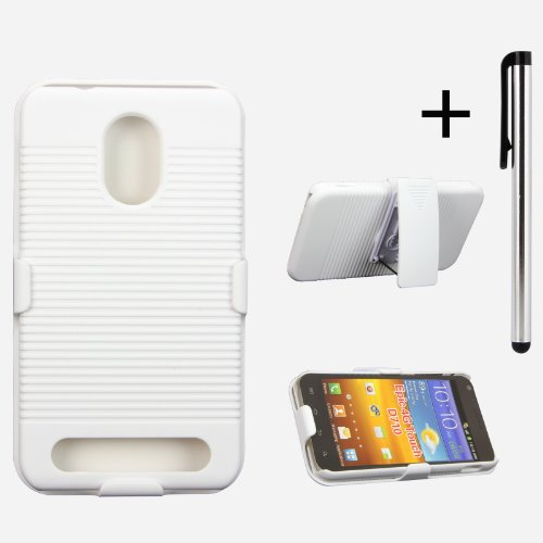White Protective Shell Case& Holster Combo W/ Free Stylus for Sprint / Alltel / U.S. Cellular Samsung Galaxy S II 2 CDMA / Sprint Samsung Galaxy S 2 II Epic 4G Touch SGH-D710 / Virgin Mobile / Boost M
