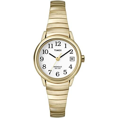 Timex Classic Women's Quartz Watch with White Dial Analogue Display and Gold-Plated Bracelet - T2H351PF