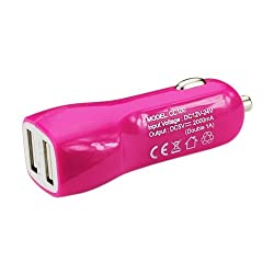 Reiko 2A5V Dual USB Car Charger for Smartphones - Retail Packaging - Pink