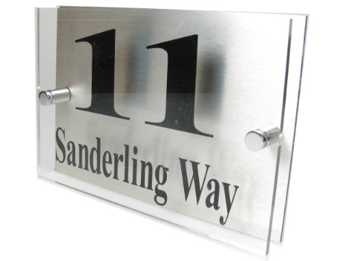 House Number Sign/Plaque Brushed Aluminium & Acrylic by Custom GOS949 (Made in UK)