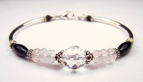 Chakra Bracelet: Healing Heart Rose Quartz, Crystal, and Onyx Silver Gemstone Bracelets