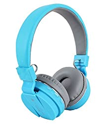 Micomy SH12 Bluetooth Wired and Wireless overear headphone with Aux cable connector -Sky Blue