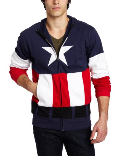 Captain America Costume Cap A Fleece with Mask Navy Adult Zip-Up Hooded Sweatshirt Hoodie (Adult XX-Large) (Captain America Hoodies For Men compare prices)