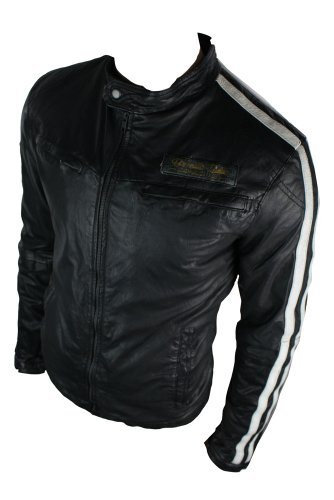Mens Saints Retro Real Leather Jacket All Vintage Look Black Biker
