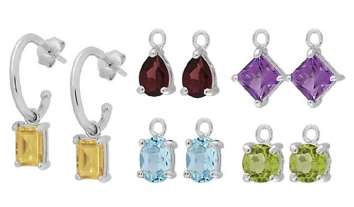 Sterling Silver Hoop Earrings with Citrine, Garnet, Amethyst, Blue Topaz and Peridot Interchangeable Gemstones, Set of 5
