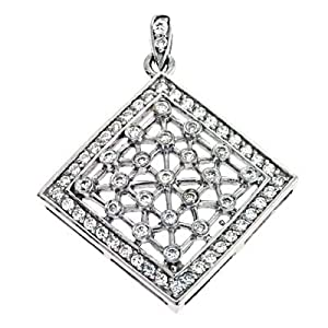 14k White Trendy Charm 0.66 Ct Diamond Pendant - JewelryWeb