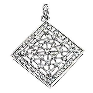 14k White Trendy Charm 0.66 Ct Diamond Pendant - JewelryWeb