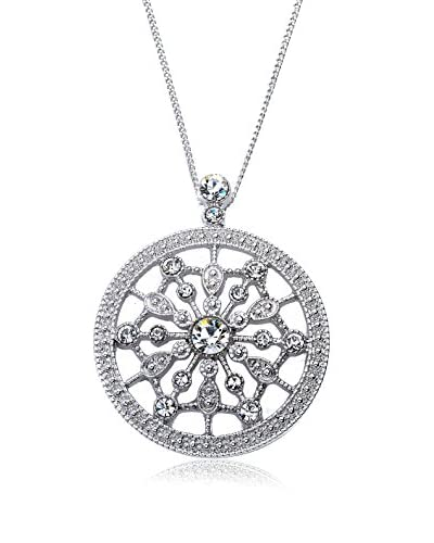 Riccova Country Chic Crystal Starburst Medallion Pendant Necklace, Silver