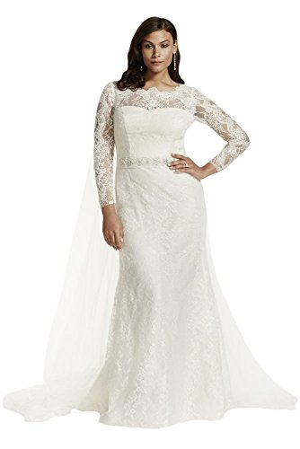 Plus Size Lace Long Sleeve Sheath Wedding Dress with Beading Style 9SWG685,...