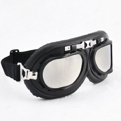 Fashion Design Mirror Lenses Black Chrome Frame UV Protect Biker Eye Protect Motorcycle Motorbike ATV Bike Bicycle Half Helmet Face Mask Head Band Goggles Sunglasses