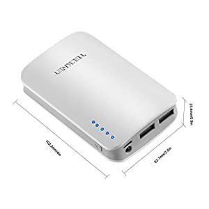 TeckNet® PowerBank 9000mAh Batterie Externe Portable avec 5V/3.1A, Chargeur de Secours pour iPhone 5S, 5C, 4S, iPad Air, iPad Mini 2/1, iPad 4/3/2/1 (Apple adaptateur non fourni); Samsung Galaxy S4,S3,Note 2 3;Google Nexus 5,4;Google Glass; HTC One, Casques Bluetooth, Android / Windows Smartphones/Tablets [2 sorties USB 5V 1A / 2.1A, Garantie 18 mois]