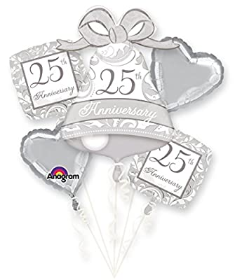 Silver Scroll 25th Anniversary Bouquet Of Balloons
