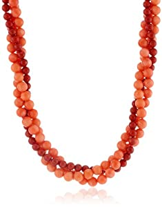 3-Row Dark Red and Pink Coral Beaded Necklace Vermeil Clasp, 19""