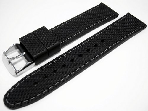 Black Rubber Divers Sports Watch Strap Band Grey Trim 22mm