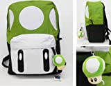 Mushroom School Back Pack - Green 16 Inch with mini plush