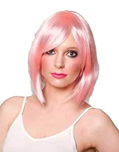 Baby pink ladies wig/wigs! Short bob cut style with side sweep fringe. Perfect for hen do's, girls night's out, punk, funky, or burlesque!