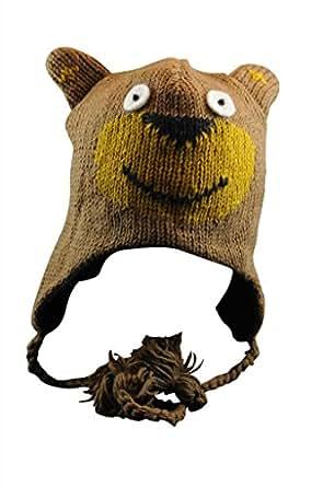 Amazon Com Adult Wool Brown Bear Beanie Hat Fleece Lined