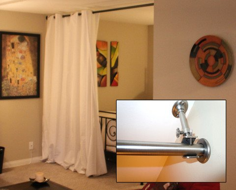 Curtain Room Divider and Two Adjustable Hanging Rods for Rooms 12 - Curtain Wall Usage ~ Decorate The House With Beautiful Curtains