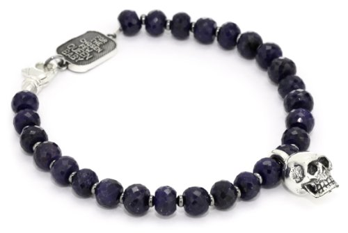 King Baby Skull Men's Pendant Necklace with 7mm Sapphire Bracelet