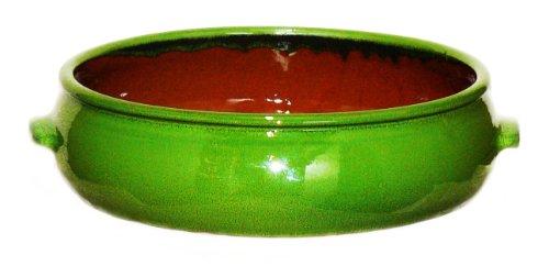 Terafeu French Ceramic Bakeware Cazuela Round Baker, Green