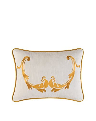 Florence Embroidered Pillow, Gold/White