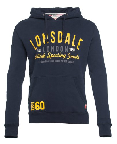 Lonsdale - Men Slim Fit Hooded Sweatshirt Woking, Felpa Uomo, Blu (Marineblau), Small (Taglia Produttore: Small)
