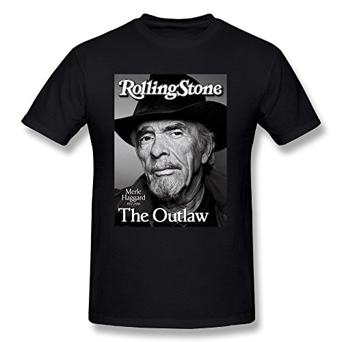 HAOJIA Men's Rolling Stone Merle Haggard Country Music Singer 1937 - 2016 T-shirt XL Black (Old Country Singers compare prices)