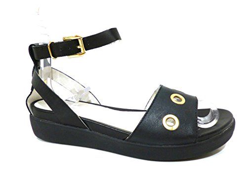 Stonefly 104603 000 sandali bassi donna in pelle neri con zeppetta e cinturino n° 40