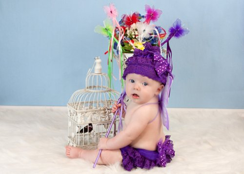 Tulle Bow Lace Hat And Diaper Cover Set (Purple) front-833174