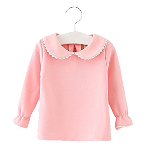 Baby Girls Cotton Long Sleeve T Shirt Blouse Tops Bottom Tee 12-18Months Light Pink