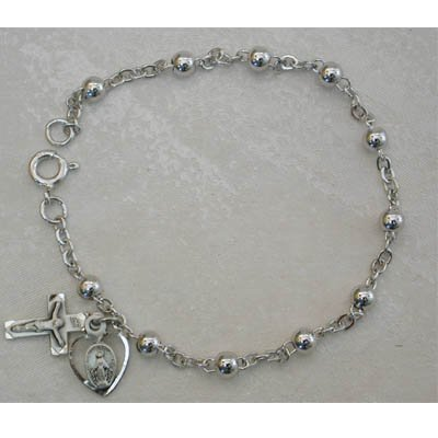 4MM BEAD ALL STERLING SILVER ADULT ROSARY BRACELET WOMENS