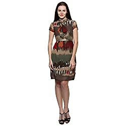 PRAKUM Women's Chiffon Regular Fit Dress Multicolor (Large)
