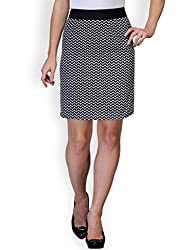 Purplicious Zig Zag Printed Monochrome Knee Length Skirt