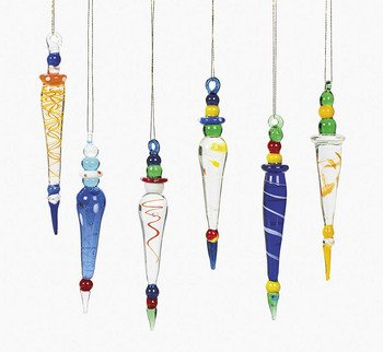 12 Beautiful Multicolor GLASS ICICLE Christmas