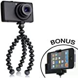 JOBY Gorillapod Flexible Tripod (Black/Charcoal) and a Bonus IVATION Universal Smartphone Tripod Mount Adapter works for iPhone 5, 5s, 6, 6 Plus, 6s, HTC One, Galaxy s2, S3, S4, S5, S6, Blackberry Z10,Q10, Motorola Droid and Most Smartphones