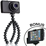 JOBY Gorillapod Flexible Tripod (Black/Charcoal) and a Bonus Universal Smartphone Tripod Mount Adapter works for iPhone 5, 5s, 6, 6 Plus, HTC One, Galaxy s2, S3, S4, Blackberry Z10,Q10, Motorola Droid and Most Smartphones